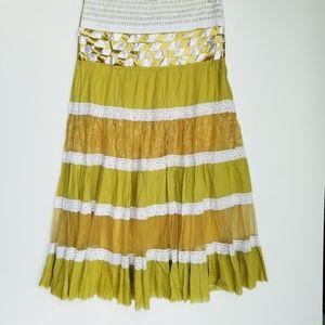 Boho maxi skirt/peasant skirt yellow sz M